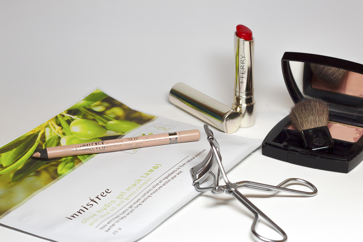 Tools of the trade. Clockwise from left:  Innisfree - Olive Hydro Gel Mask; Rimmel - Scandaleyes Waterproof Kohl Kajal in Nude, By Terry - Hyaluronic Sheer Rouge in Bang Bang; Chanel - Les Tissages de Chanel in Tweed Rose;  Etude House eyelash curler